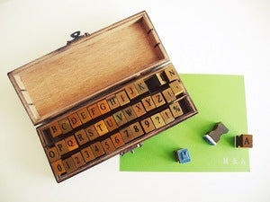 Image of Small Alphabet Rubber Stamp Set