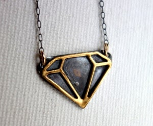 Image of Black and Gold Diamond Cut Out Pendant