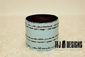 Image of Aqua Wooden Pail Bucket - No Handle - Vintage Style
