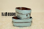 Image of Aqua Oval Wooden Bucket w/Metal Handles - Vintage Style - Newborn Prop