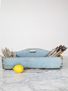 Image of Large Primitive Cutlery Holdall with Original Paint