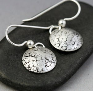 Image of Mini Sterling Disc Earrings - Pebbles Texture
