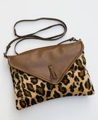 Image of ON SALE! envelope crossbody with removable strap (cheetah ultrasuede + brown leather)