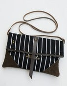 Image of -S O L D- black + white stripe foldover crossbody bag