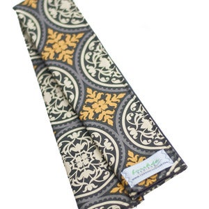 Image of Padded Camera Strap Cover: Gray &amp; Yellow Medallions