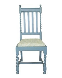 Image of Pair of Painted Blue Barley Twist Chairs