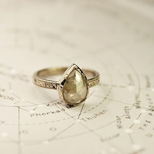 Image of 18ct white gold teardrop opaque diamond ring {SOLD No.23}