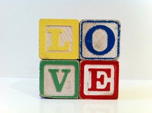 Image of VINTAGE WOODEN LOVE BLOCKS