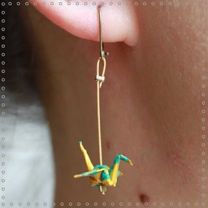 "Image of Boucles d'oreilles Migration ""Yellow Blue"""