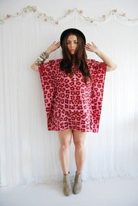 Image of Red leopard print kaftan dress