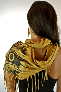 Image of Tassle Shawl- 2 Color Print- Mustard
