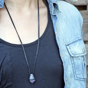 Image of amethyst crystal point on leather necklace