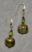 Image of Italian Green Glass w/ chocolate seed Pearls