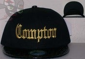 Image of Compton Croc Print Blackw/Gold Stitch Old School Eazy E NWA Snapback Hat
