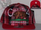 Image of Califorina Republic Red Plad Snapback Hat Cap