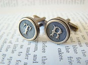 Image of Monogram Cufflinks - Antiqued Brass