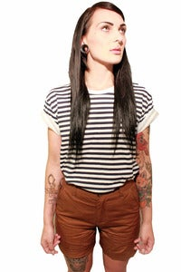 Image of Womens Brown High Waisted Chino Shorts