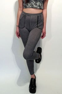 Image of high-waisted gingham monochrome stretch jersey leggings