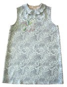 Image of Fish and Flower Silk Dress with Sequin Embroidery