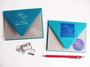 Image of Hand Lettered Family Names Address Stamp Set