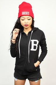 Image of B Hoodie Zip Up Black Women's