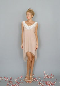 Image of Paris: A-line tulle sheath dress with vintage pearl applique...