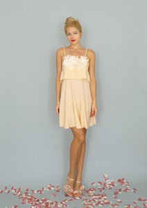 Image of Marni: Blush pink layered dress with a-line skirt and applique...
