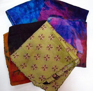 Image of Set of 5 Reclaimed Sari Silk Scarves Assorted Minis
