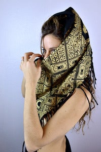 Image of Tassle Shawl- 1 Color Print- Black