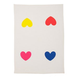 Image of Endless Love multi-colour heart white teatowel 