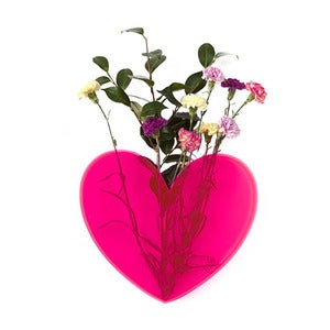 Image of LARGE Queen of Hearts neon pink heart vase