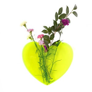 Image of LARGE Queen of Hearts neon yellow heart vase
