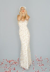 Image of Isobel: Floor length floral lace sheath gown with flare