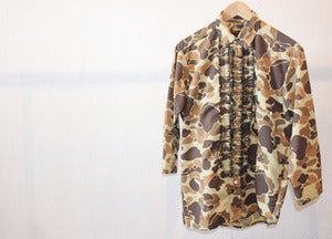 Image of  CUSTOM DUCK CAMO RUFFLE BUTTON UP