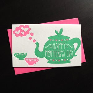 Image of 1713 - teapot mother's day letterpress card