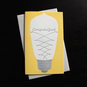 Image of 1619 - lightbulb letterpress graduation card