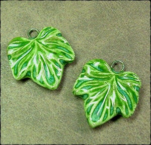 Image of Small Wavy Leaf Charm Pair