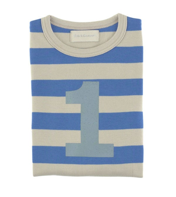 Image of Birthday Tee (No. 1-5), Sailor Blue & Sand Striped