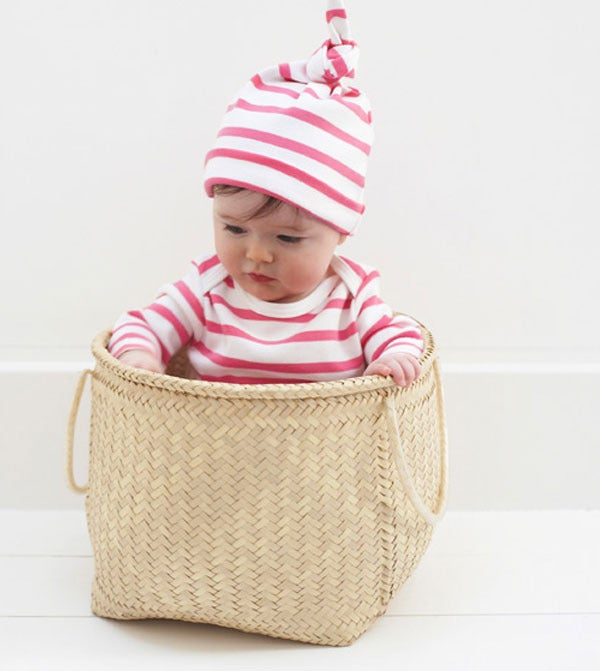 Image of Baby Coral Pink &amp; White Breton All-in-one &amp; hat