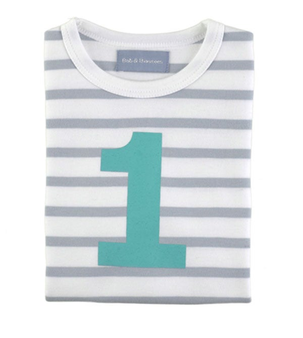 Image of Birthday Tee (No. 1), Grey &amp; White Beton (Turquoise)