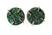 Image of 14K Gold Uva Rovite Garnet Druzy Post Earring