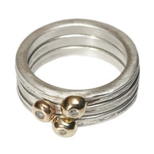 Image of Triple stack of driftwood stacking rings with gold pebble set diamond