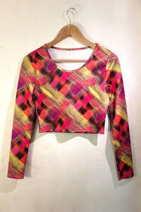 Image of psychedelic print scuba stretch top