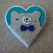 Image of heathered pudgy bear + bowtie heart