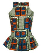 Image of Fair Trade African Print Peplum Top Blue Orange