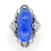 Image of Vintage Art Nouveau Style Ornate Lapis Blue Glass Silver Metal Cocktail Ring