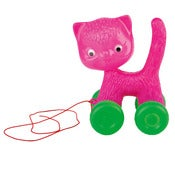 Image of PULL ALONG CAT ON WHEELS