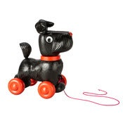 Image of BLACK PULL ALONG DOG ON WHEELS