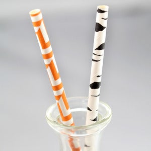 Image of Herringbone + Birch Paper Straws