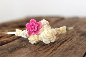 Image of Magenta & Ivory Floral Bouquet Headband